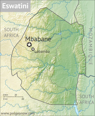 Topographic map of Eswatini (Swaziland), showing terrain, rivers, bordering countries, and capital cities.