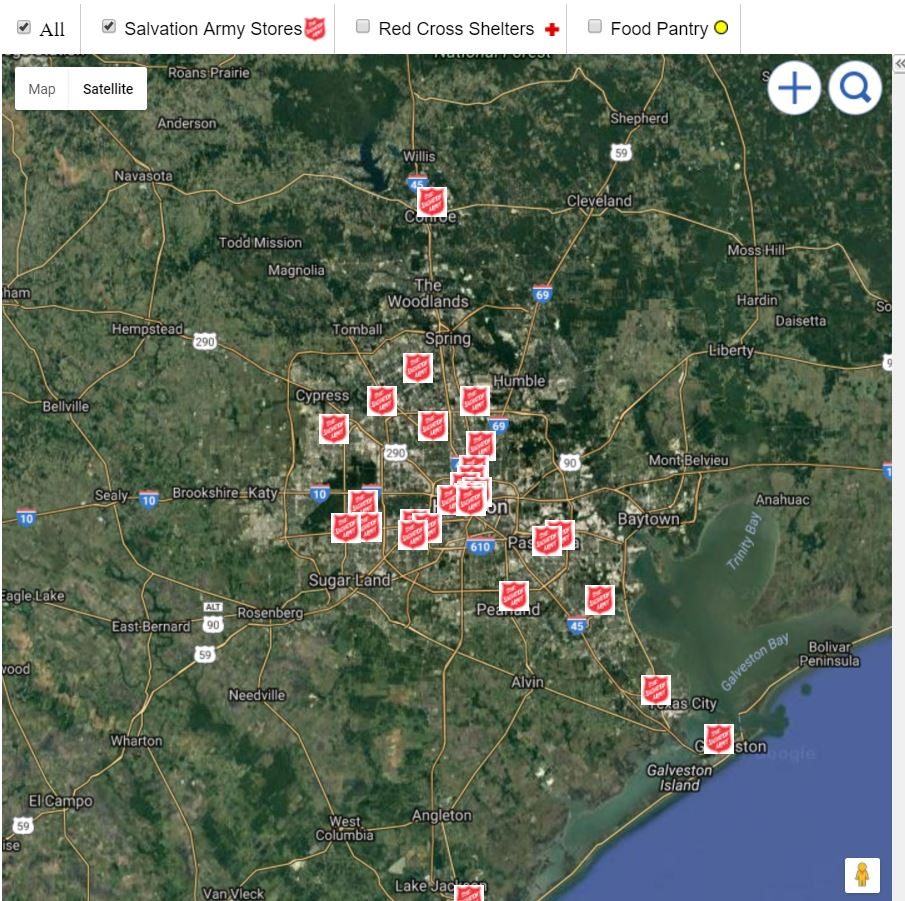 Disaster Relief Maps Houston Salvation Army Stores Map