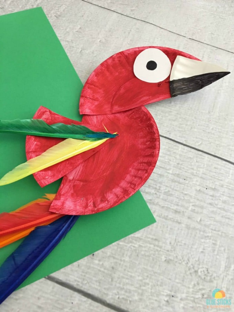 Parrot paper plate craft