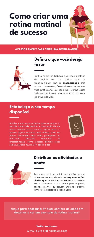 Infográfico com Como Criar a Sua Rotina Matinal para o Sucesso em Apenas 4 Passos Simples + BÔNUS