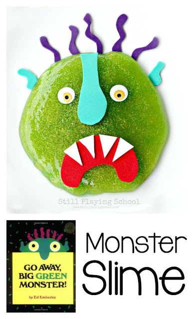 Go Away, Big Green Monster Slime recipe for story retelling for kids