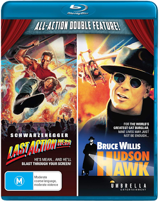Blu-ray cover for Umbrella Entertainment's Blu-ray Double Feature of LAST ACTION HERO & HUDSON HAWK.