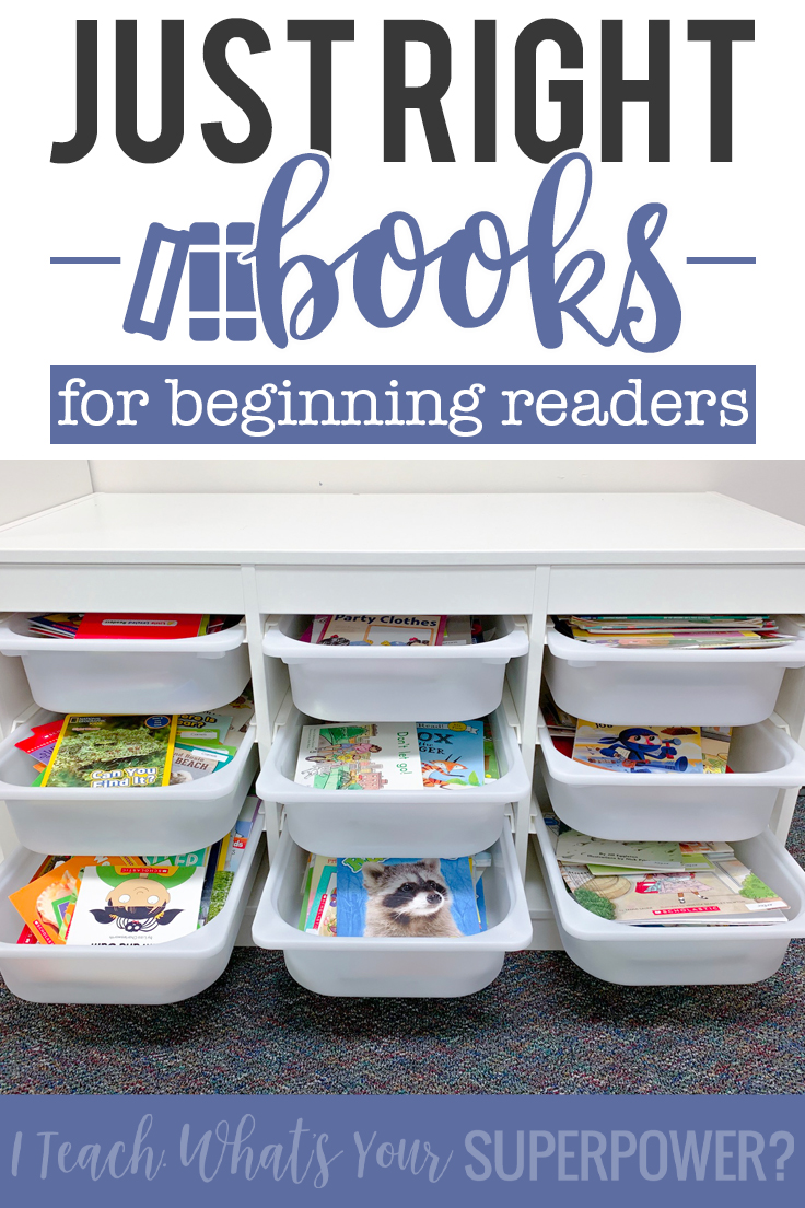 Support beginning readers at home and school by offering them just right books. How to keep it simple and organized and suggestions for low cost ways to begin collecting just right books.