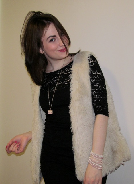 Fur Vest and Lace Dress