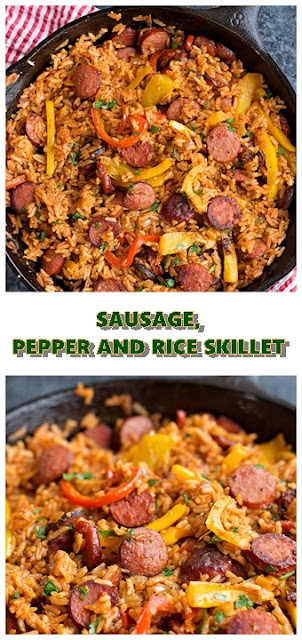 #SAUSAGE #PEPPER #AND #RICE #SKILLET #chickenrecipes #recipes #dinnerrecipes #easydinnerrecipes