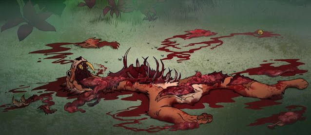 The ravage remains of a prehistoric smilodon are splayed across the ground, the aftermath of a brutal attack.