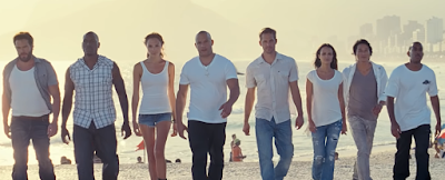 Paul Walker with Vin Diesel and other actors from Fast and Furious