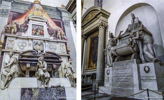 Florença - Basílica de Santa Croce - túmulos de Michelangelo e de Dante