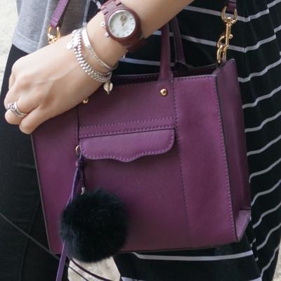 faux fur pom pom bag charm, Rebecca Minkoff mini MAB tote in plum purple | AwayFromTheBlue