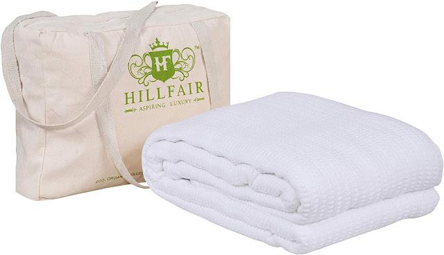 HILLFAIR 100% Certified Organic Cotton Winter Blankets- Queen Size