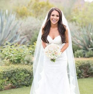 Picture of Scott Frost's wife Ashley Neidhardt in wedding dress