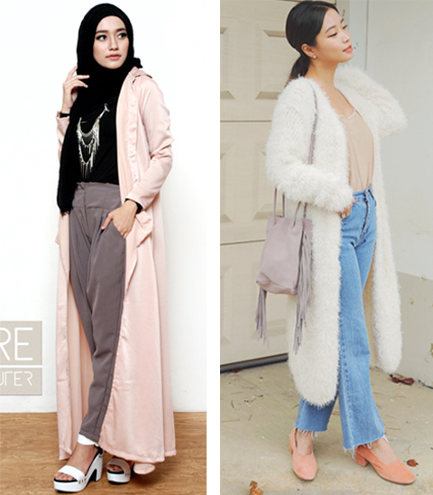 model baju long cardigan