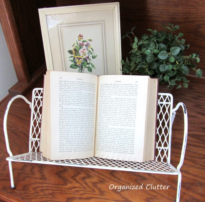 Upcycled Midcentury Black Mesh Book Rack www.organizedclutterqueen.blogspot.com