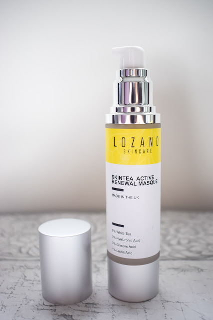 Lozano Skintea active renewal masque stood on table with lid off