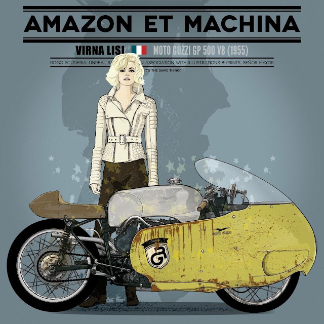 Amazon et Machina - Virna Lisi & Moto Guzzi GP500 V8 by Senor Mayor