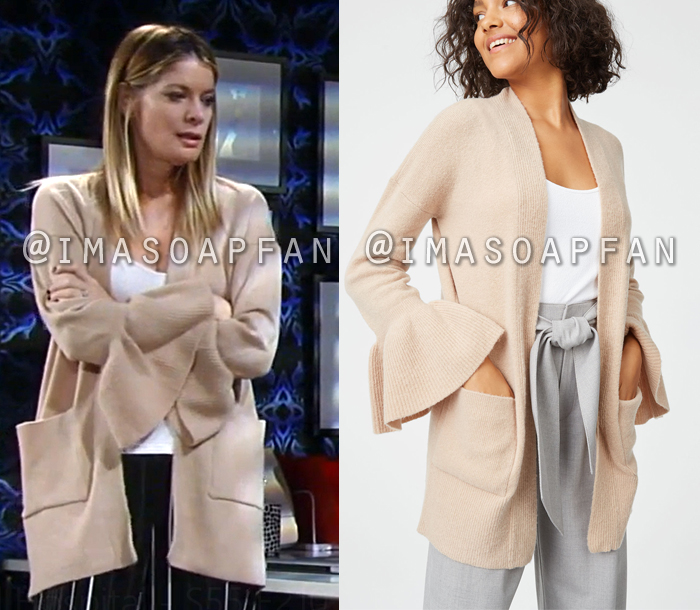 Nina Reeves, Michelle Stafford, Beige Cardigan with Flared Sleeves, General Hospital, GH