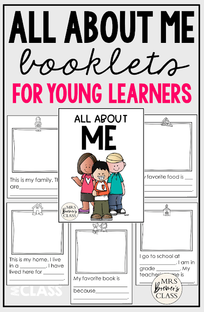 All About Me student booklets for Kindergarten and First Grade