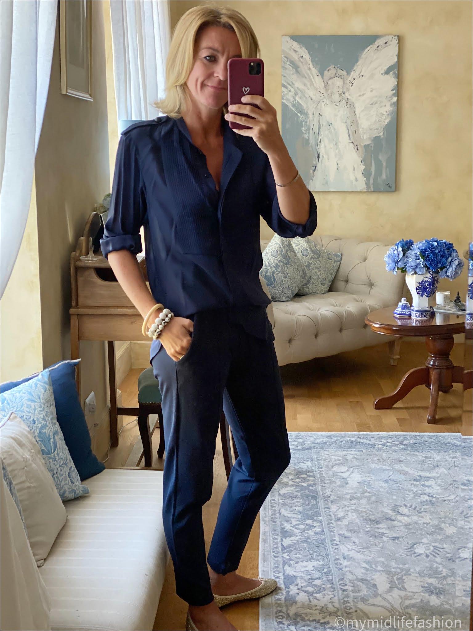 my midlife fashion, Baukjen neath pant, Isabel Marant silk blouse, French sole India glitter ballet pumps