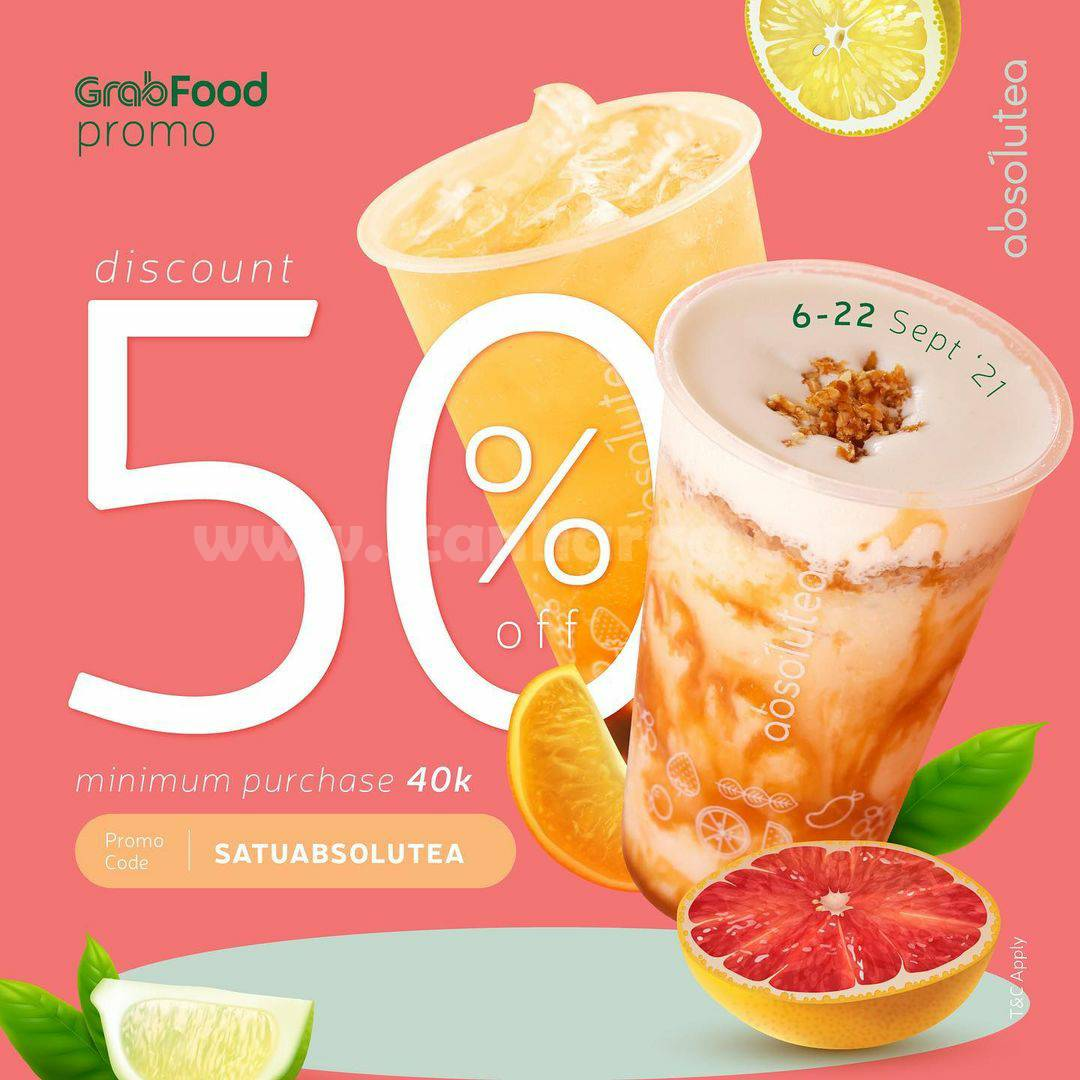 Promo ABSOLUTEA Diskon 50% via GRABFOOD