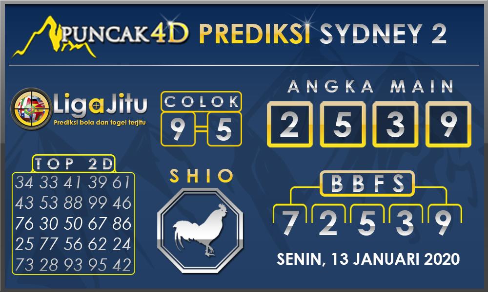 PREDIKSI TOGEL SYDNEY2 PUNCAK4D 13 JANUARI 2020