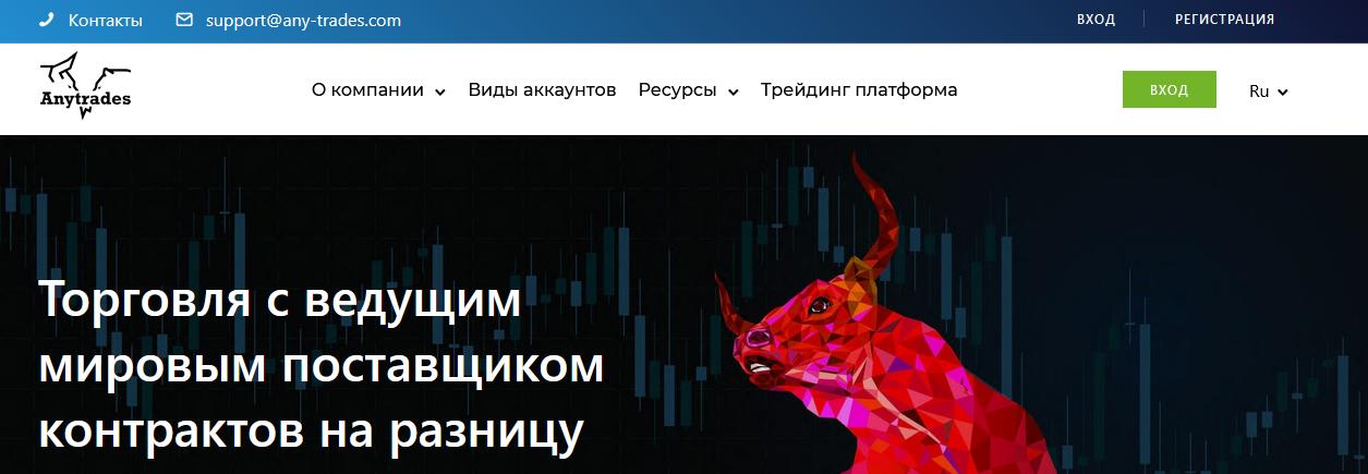 Мошеннический сайт any-trades.com/ru – Отзывы, развод. Компания AnyTrades мошенники