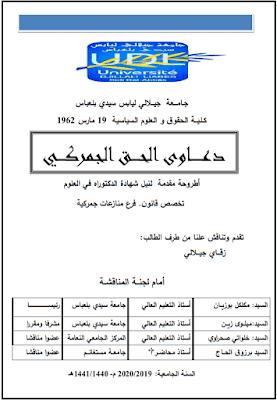 أطروحة دكتوراه: دعاوى الحق الجمركي PDF