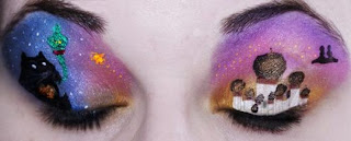 maquilla artistico de ojos con paisaje  - body paint