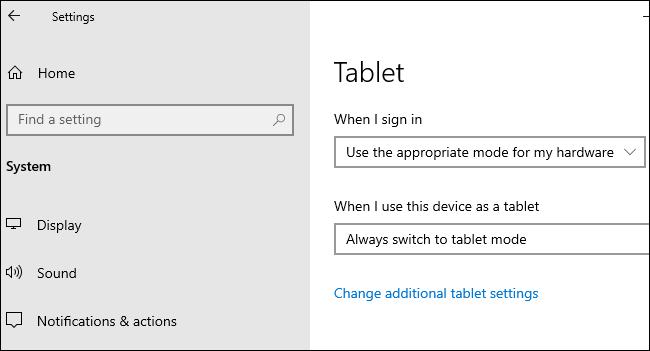 خيارات الجهاز اللوحي ضمن الإعدادات> النظام> الجهاز اللوحي على نظام التشغيل Windows 10.