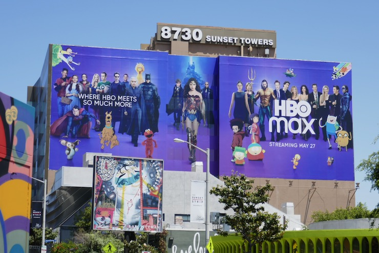 Giant HBO Max launch billboard Sunset Towers