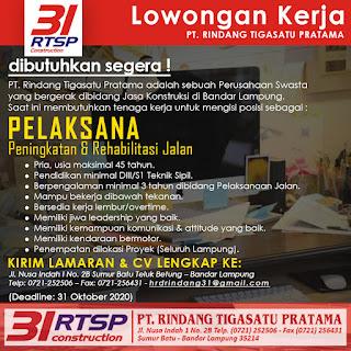 Peluang Kerja Lampung PT. Rindang Tigasatu Pratama