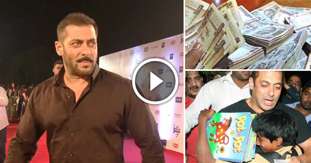 Salman Khan Spotted Donating Money To Poor Kids