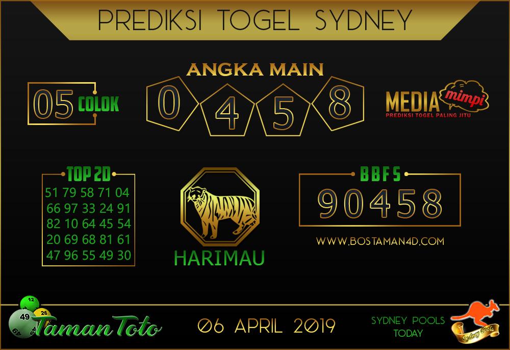 Prediksi Togel SYDNEY TAMAN TOTO 06 APRIL 2019