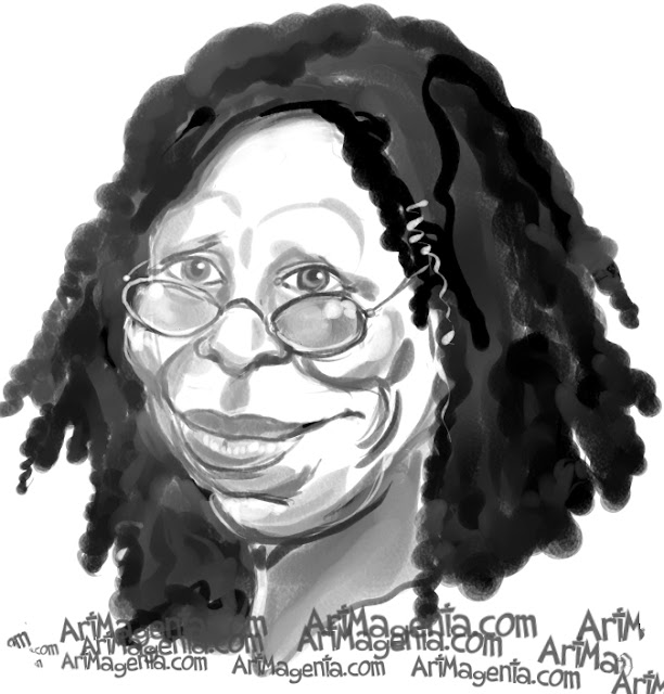 Whoopi Goldberg caricature cartoon. Portrait drawing by caricaturist Artmagenta