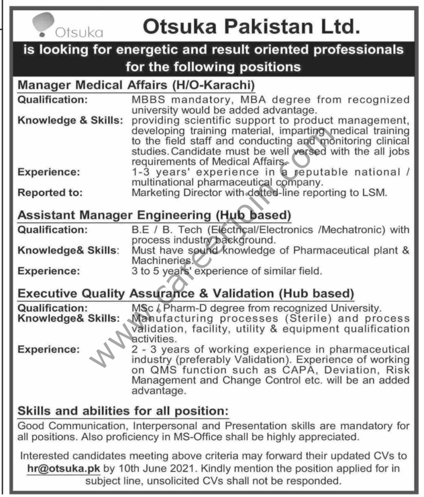 hr@otsuka.pk - Otsuka Pakistan Ltd Jobs 2021 in Pakistan