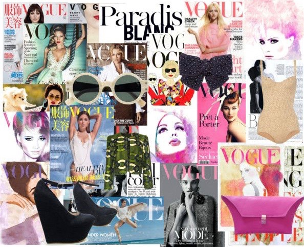 Vogue fashion collage with models, shoes, bags, accessories