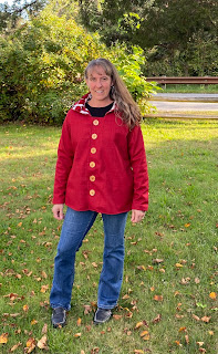 Red winter coat with buttons