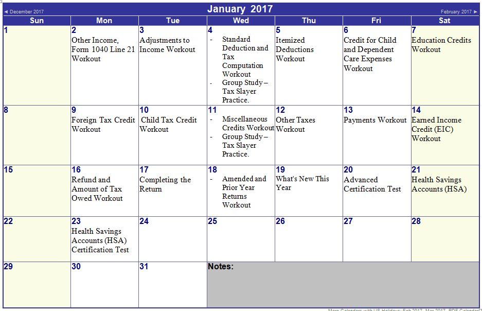 2017 Tax Season Vita Study Group