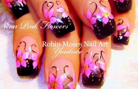 Nail Art By Robin Moses DIY Hand Painted Neon Flower