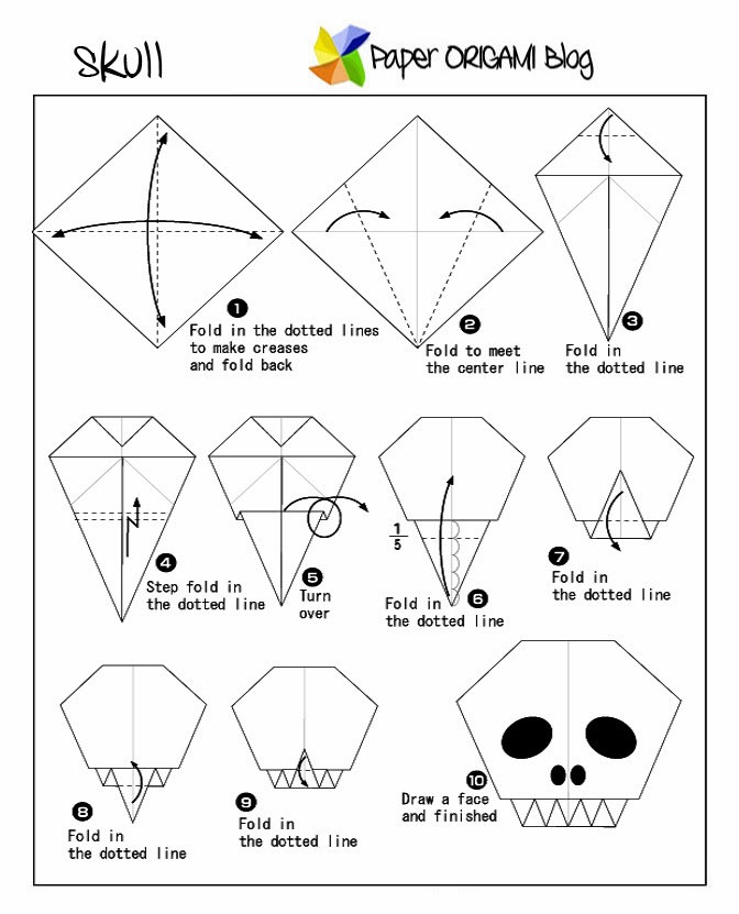 Halloween Origami A Skull Paper Origami Guide