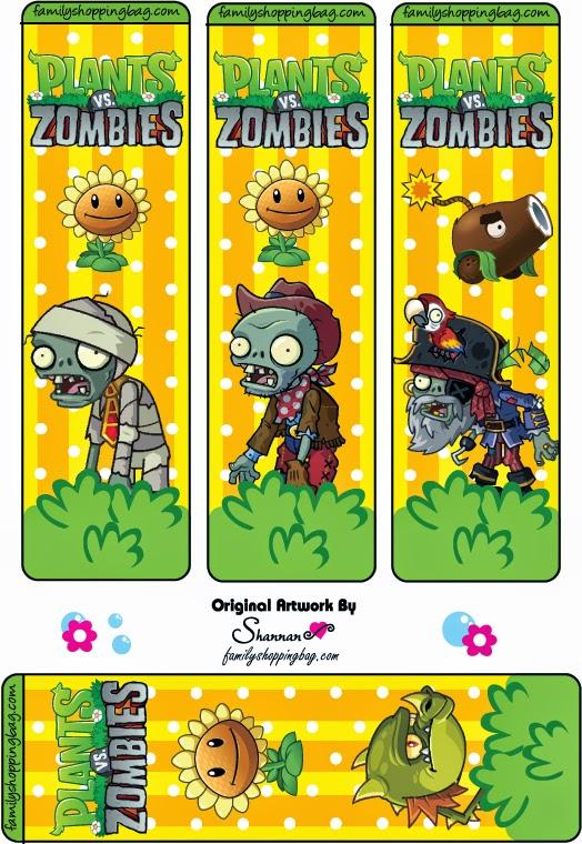 Marcapaginas para Imprimir Gratis de Plantas vs Zombies.