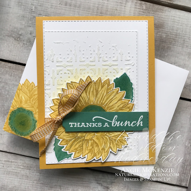 By Angie McKenzie for Around the World on Wednesday Blog Hop; Click READ or VISIT to go to my blog for details! Featuring Embossing Paste backgrounds and the Faux Alcohol Coloring Technique with the Celebrate Sunflowers Bundle, the Many Medallions Dies, the Poppy Moments Dies and the Stitched Rectangles Dies from the 2020-2021 Annual Catalog; #stampinup #embossingpastebackgrounds #celebratesunflowersbundle #stitchedrectanglesdies #manymedallionsdies #poppymomentsdies #fauxalcoholcoloringtechnique #naturesinkspirations #coloringwithblends #coloringwithblenderpen #fussycutting #handmadecards #20202021annualcatalog #stampinupinks #cardtechniques #stampingtechniques #awowbloghop #aroundtheworldonwednesdaybloghop #thankyoucards