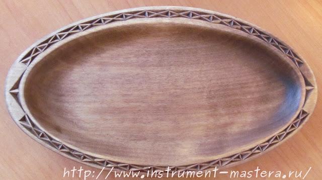 резная тарелка из дерева