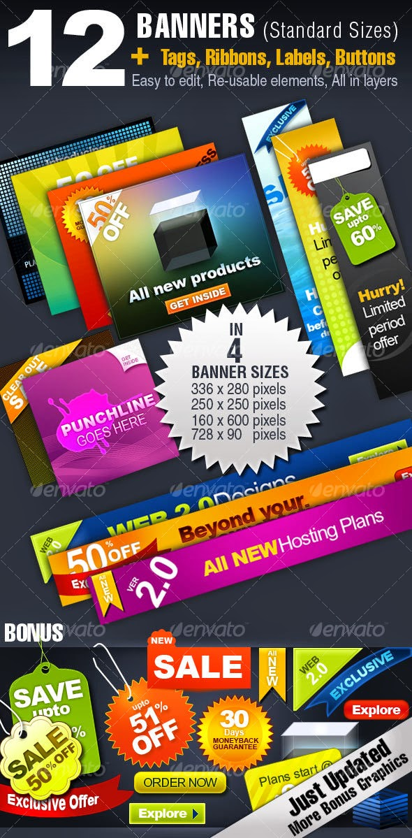 Graphicriver – 12 BANNERS – 4 Sizes + Tags, Ribbons, Buttons