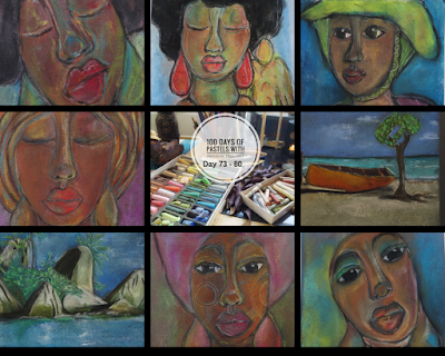 Images of 6 Pastels portraits painted, along with 2 seascapes