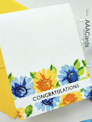 AAA Cards, Altenew, Congratulations, masking, One layer card, quillish, CAS card, Altenew Daisy layering stamp