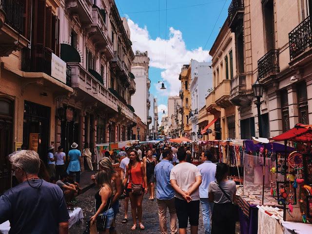 A busy street market scene.