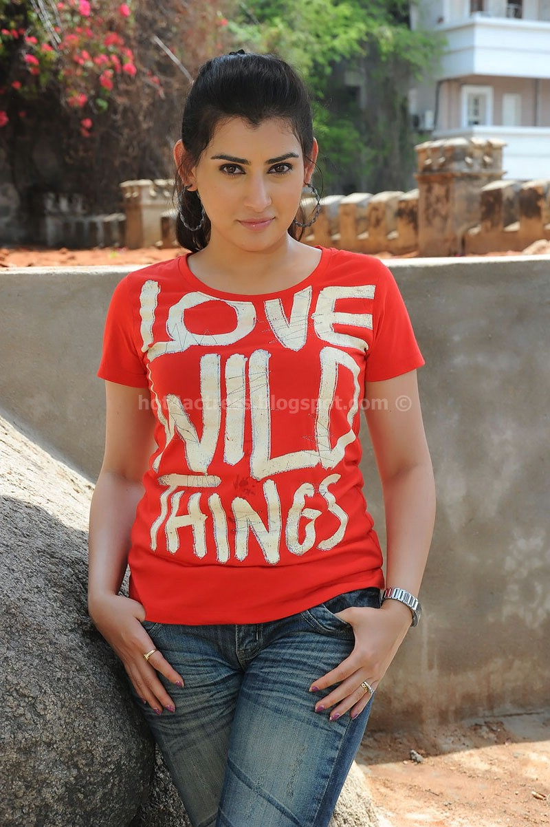 Archana veda in red t-shirt