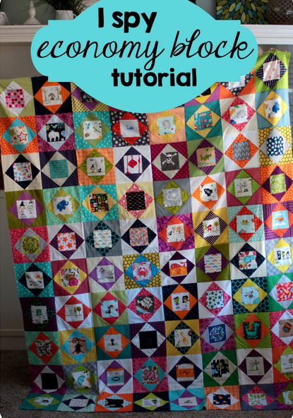 I Spy Economy Block Quilt Free Tutorial designed by Kelsey Norwood of Vanillajoy