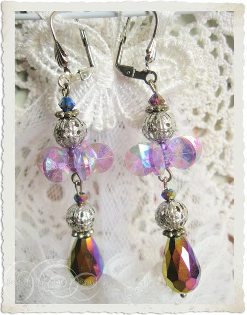 Purple earrings by Ingeborg van Zuiden Weijman