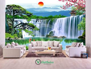 Tranh dán tường 3d thác  nước cây tùng hoa ngọc lan